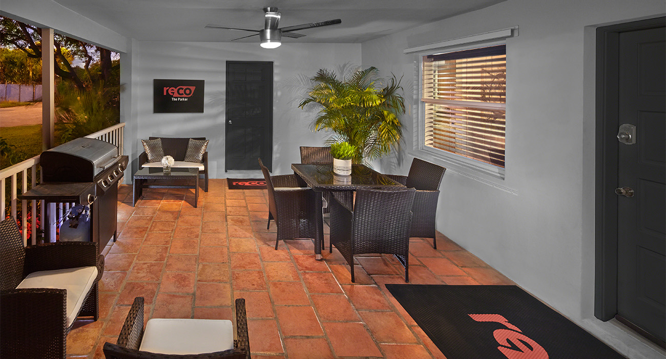 Outside Patio with Barbecue and Table at The Parker Sober Living Home in Delray Beach